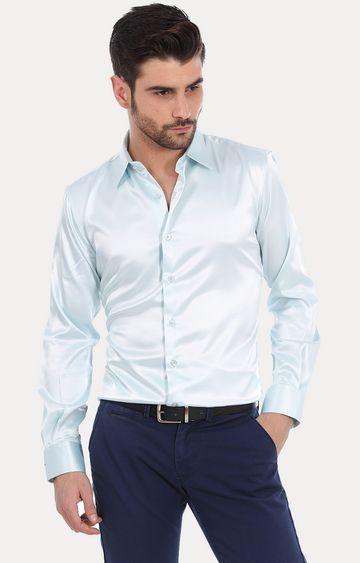 Basics   Aqua Solid Formal Shirt