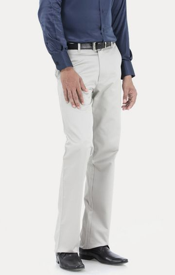 Basics | Light Grey Flat Front Formal Trousers