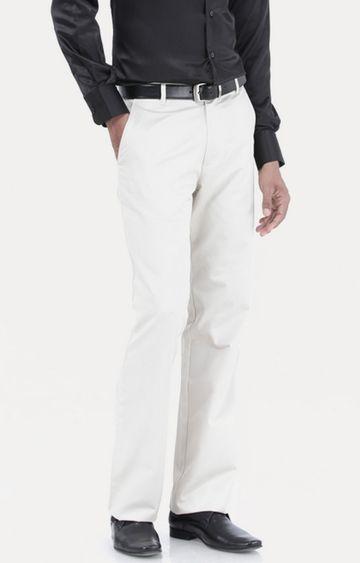 Basics | Ecru Flat Front Formal Trousers