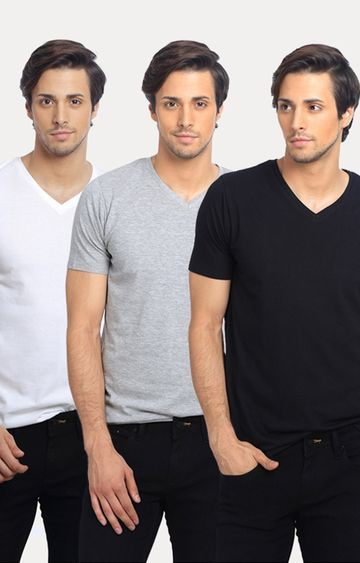 Basics | Black, Grey and White Solid T-Shirt - Pack of 3