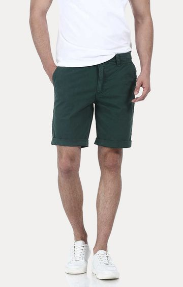 Basics | Green Solid Shorts