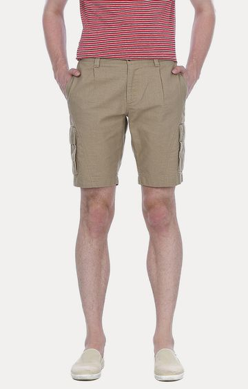 Basics | Beige Solid Shorts