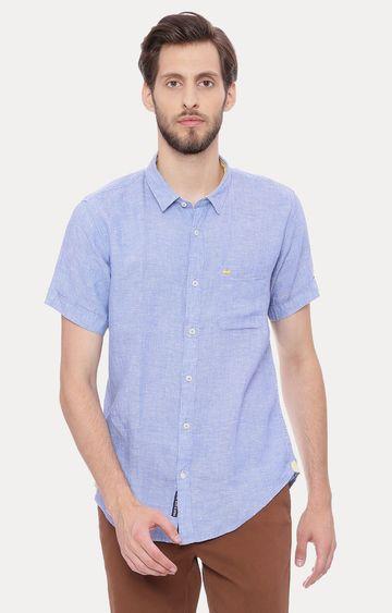 Basics   Blue Melange Casual Shirt