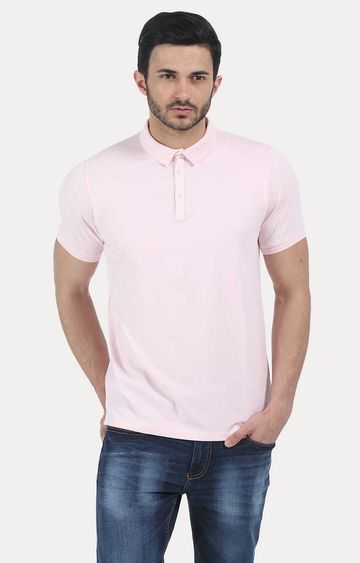 Basics | Pink Solid Polo T-Shirt