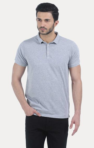 Basics | Grey Melange Polo T-Shirt