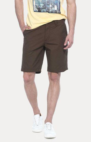 Basics | Brown Solid Shorts