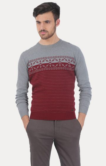Basics | Grey and Red Printed Sweater