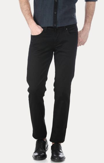 Basics | Black Solid Straight Jeans