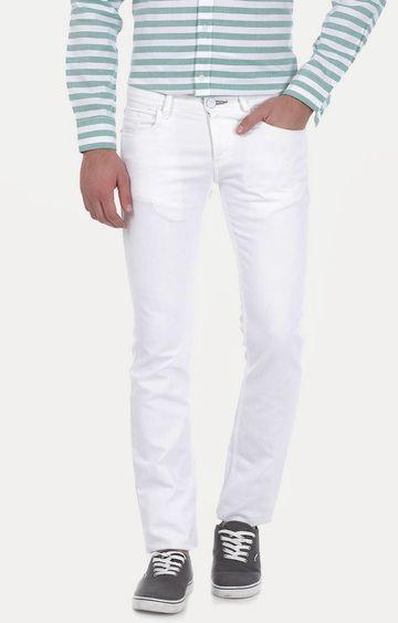 Basics | White Solid Straight Jeans