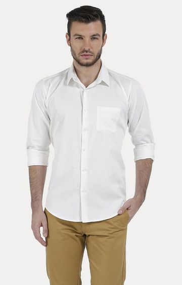 Basics | White Solid Casual Shirt