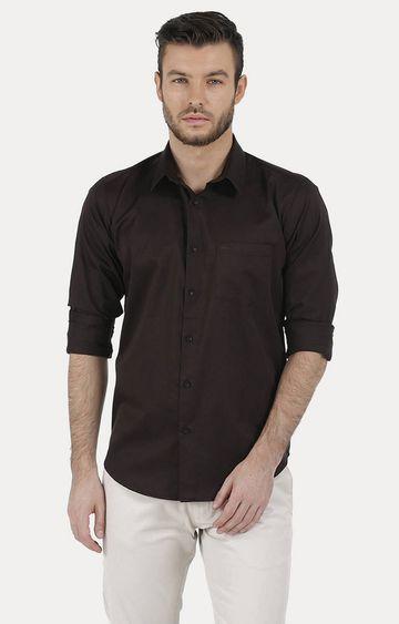 Basics | Brown Solid Casual Shirt