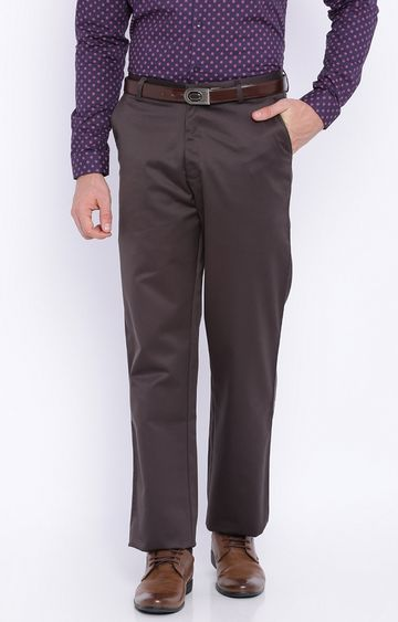 Basics | Brown Solid Flat Front Formal Trousers
