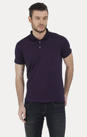 Basics | Purple Solid Polo T-Shirt