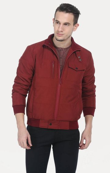 Basics | Red Solid Bomber Jacket