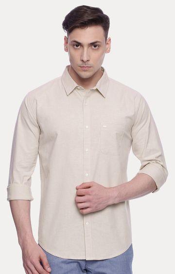 Basics | Beige Solid Casual Shirt