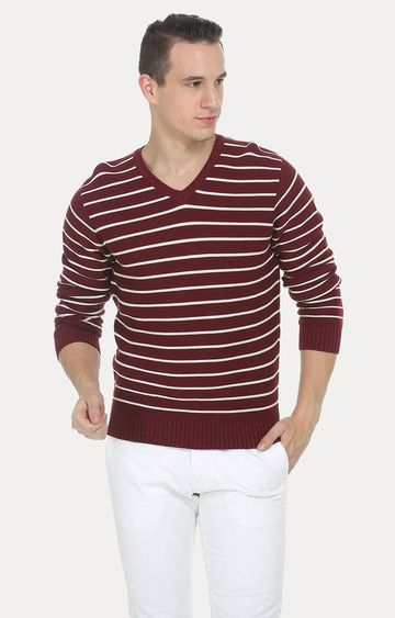 Basics | Maroon Striped Sweater