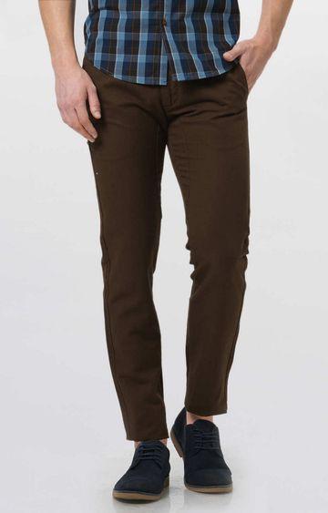 Basics | Dark Brown Solid Straight Chinos