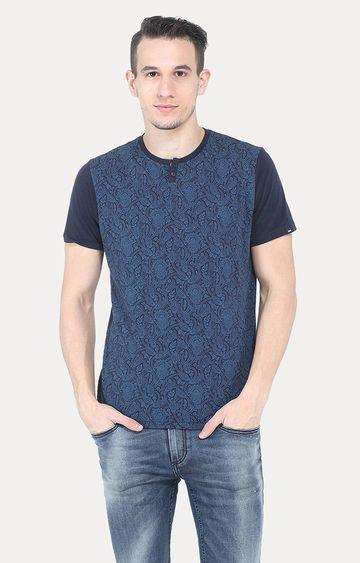 Basics | Navy Printed T-Shirt