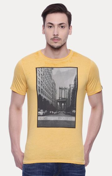 Basics | Yellow Printed T-Shirt