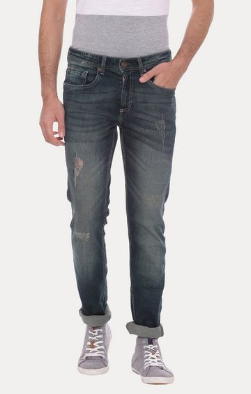 Basics | Blue Solid Straight Jeans