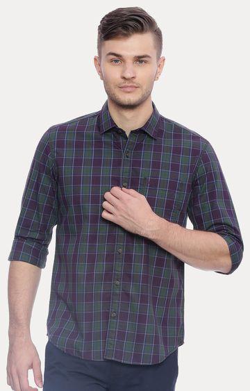Basics | Navy and Green Checked Casual Shirt