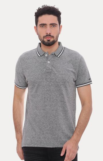 Basics | Black Melange Polo T-Shirt
