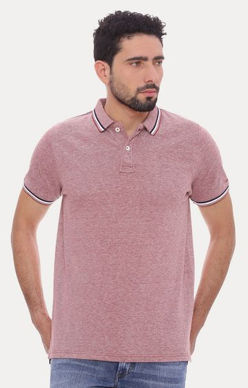 Basics | Soft Red Melange Polo T-Shirt