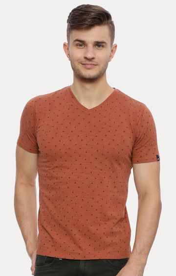 Basics | Brown Printed T-Shirt