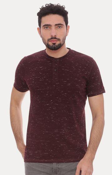 Basics | Maroon Printed T-Shirt