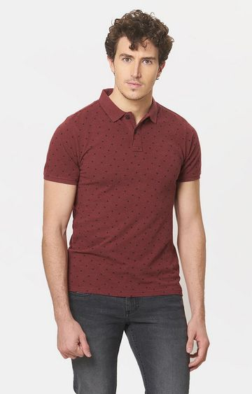 Basics | Brown Printed Polo T-Shirt