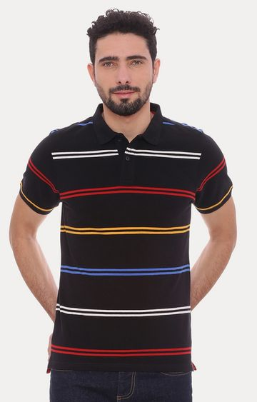 Basics | Black Striped Polo T-Shirt