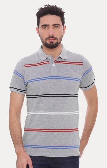 Basics | Grey Striped Polo T-Shirt