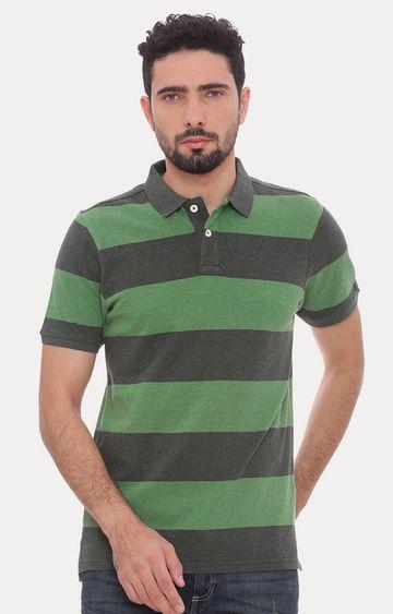 Basics | Green Striped Polo T-Shirt
