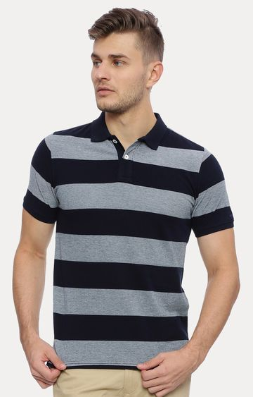 Basics | Grey and Navy Striped T-Shirt
