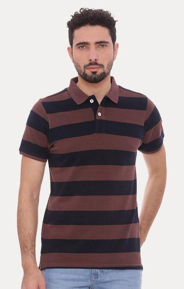 Basics | Brown Striped Polo T-Shirt