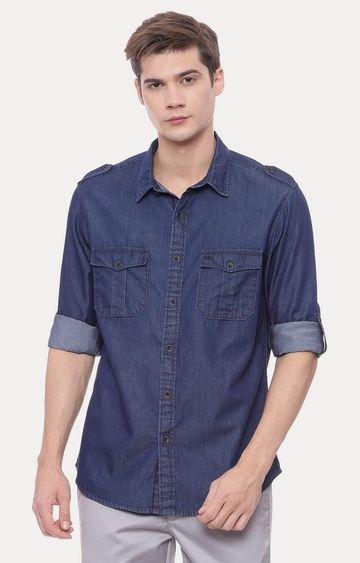 Basics | Blue Solid Casual Shirt