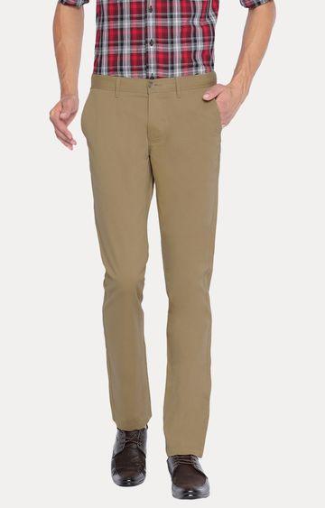 Basics | Khaki Solid Straight Chinos