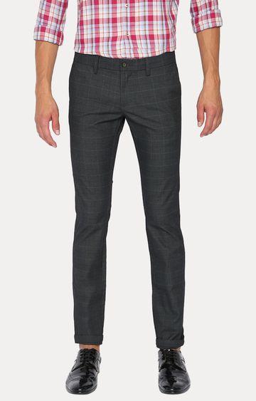 Basics | Grey Checked Straight Chinos