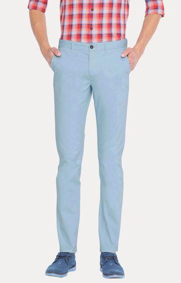 Basics | Blue Solid Straight Chinos