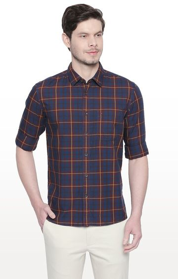 Basics | Navy and Maroon Checked Slim Fit Casual Shirt