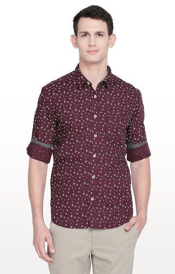Basics | Maroon Printed Slim Fit Casual Shirt
