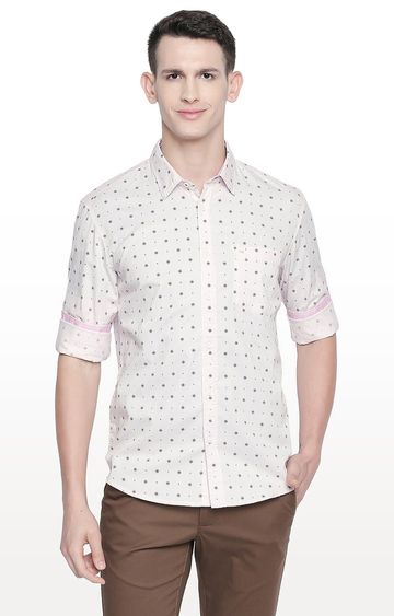 Basics | Pink Printed Slim Fit Casual Shirt