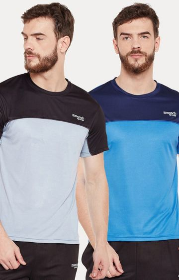 Masch Sports | Blue and Black Colourblock T-shirt - Pack of 2