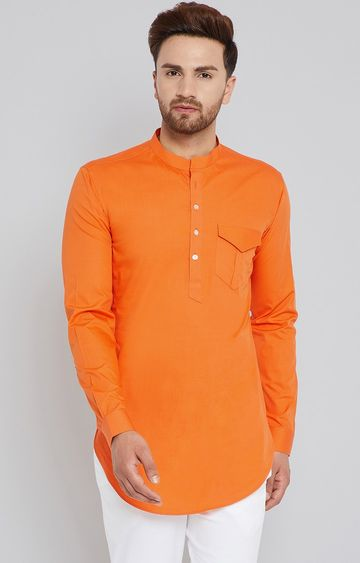 SEE DESIGNS | Orange Solid Kurta