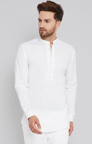 SEE DESIGNS | White Solid Short Kurta