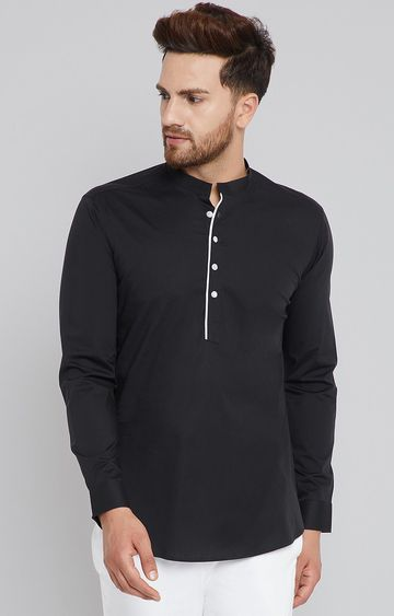 SEE DESIGNS | Black Solid Short Kurta