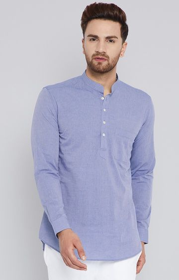 SEE DESIGNS | Blue Melange Short Kurta