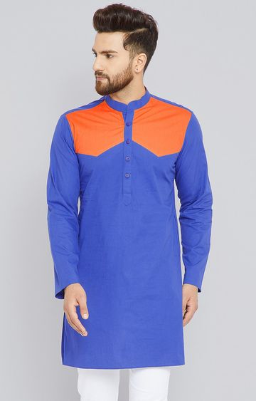 SEE DESIGNS | Royal Blue and Orange Colourblock Kurta