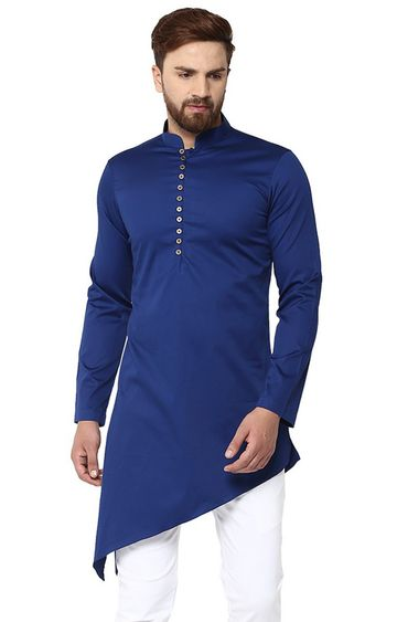 SEE DESIGNS | Blue Solid Kurta
