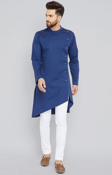 SEE DESIGNS | Blue Solid Kurta Set